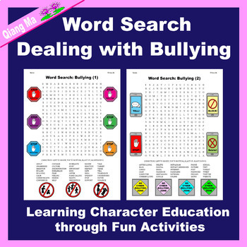 Character Education Word Search: Bullying