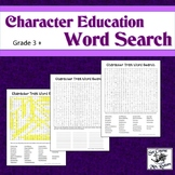 Character Education Word Search with Answer Key