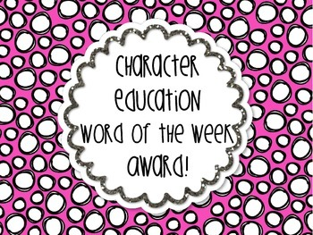 Character Education Word of the Week Award Free