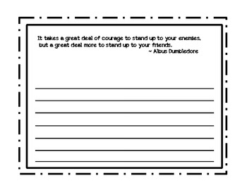 Character Education Writing Prompt Quote for Bullying