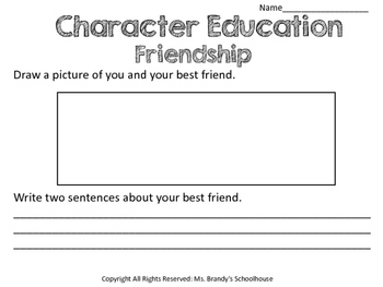 Character Education Writing Worksheets