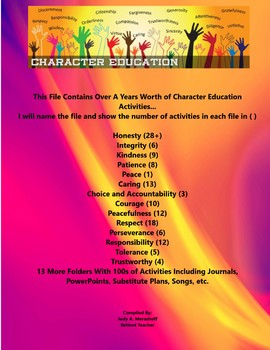 Character Education Year Long Activities Teacher Supplemental Resources