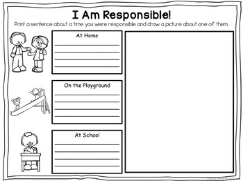 Character Education about RESPONSIBILITY  No Prep