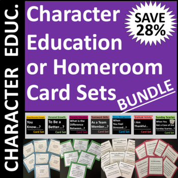 Character Education or Homeroom Card Set Bundle Group Activity / Writing Prompts