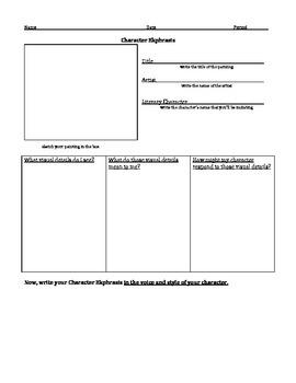 Character Ekphrasis: Character Analysis Worksheet