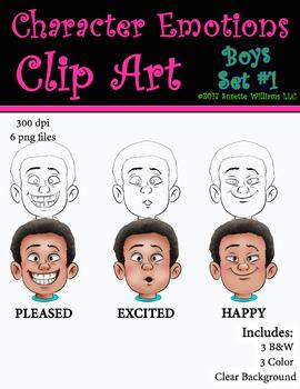Character Emotions Clip Art: Boys Set #1