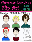 Character Emotions Clip Art: Boys Set #10 (Embarrassed)