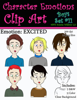 Character Emotions Clip Art: Boys Set #11 (Excited)