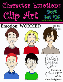 Character Emotions Clip Art: Boys Set #16 (Worried)
