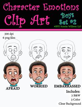 Character Emotions Clip Art: Boys Set #2