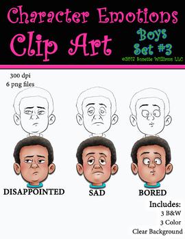 Character Emotions Clip Art: Boys Set #3