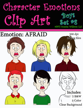 Character Emotions Clip Art: Boys Set #8 (Afraid)