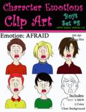 Character Emotions Clip Art: Boys Set #8 (Afraid)