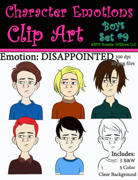 Character Emotions Clip Art: Boys Set #9 (Disappointed)