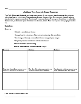 Character Essay Prompt and Evaluative Rubric and Planning for Anthem by Ayn Rand