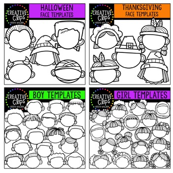 Character Face Templates Bundle ($36.00 Value) {Creative Clips Clipart}