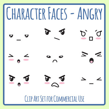Character Faces - Angry Clip Art Set for Commercial Use