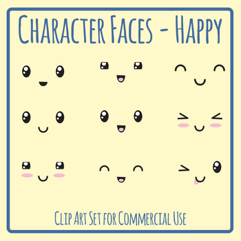 Character Faces - Happy Clip Art Set for Commercial Use