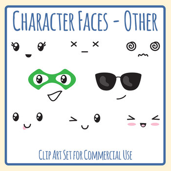 Character Faces - Other Emotions Etc Clip Art Set for Commercial Use