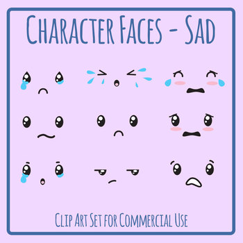 Character Faces - Sad Clip Art Set for Commercial Use