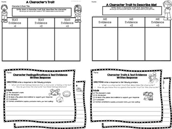 CHARACTER TRAITS & FEELINGS GRAPHIC ORGANIZERS-EXIT TICKETS-PROMPTS-POSTERS