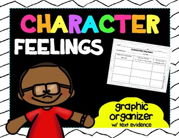 Character Feelings Graphic Organizer w/Text Evidence