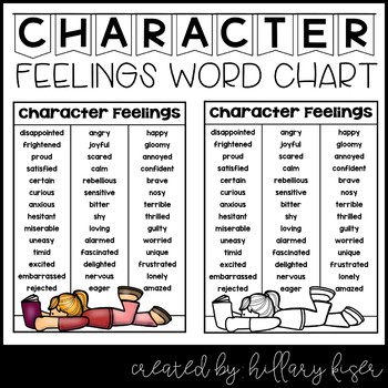 Character Feelings Word Chart