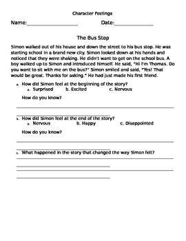 Character Feelings Worksheet