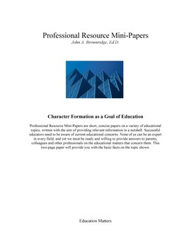Character Formation as a Goal of Education