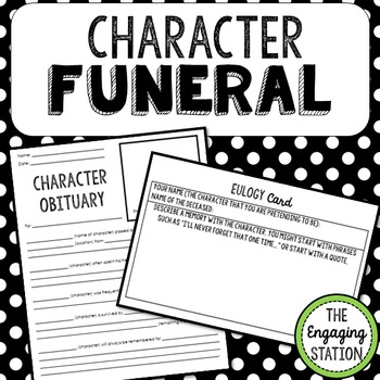 Character Funeral Activity Pack for ANY Text