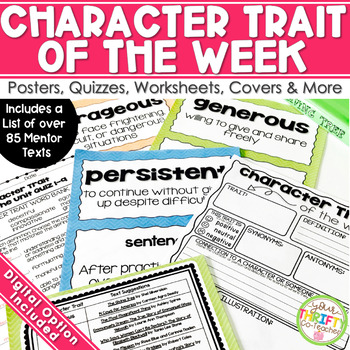 Character Trait Digital with Character Trait Graphic Organizer Posters & Quizzes