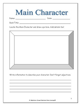 Character Graphic Organizers grades 2 & 3