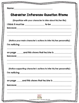 FREE Character Inference Question Stems
