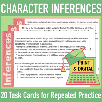 Character Inferences: Mini-Passages, Assessments w/ Character Analysis Questions