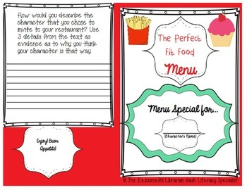 """Character Inferences ANY Guided Reading """"The Perfect Fit Food Menu"""" Almost Free"""