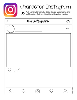Character Instagram: Response to Literature Activity