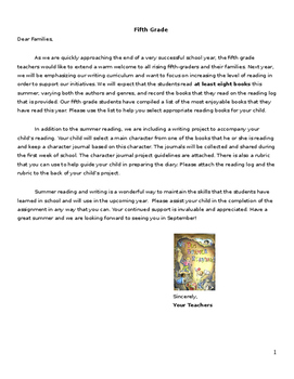 Character Journal Reading/Writing Project: Great for a vacation assignment