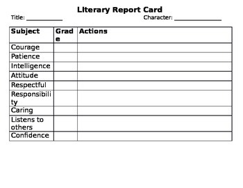 Character Literary Report Card