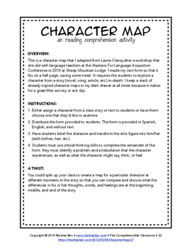 Character Map in Spanish and English - reading comprehension activity