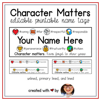 Character Matters: EDITABLE Name Tags #kindnessnation #weh