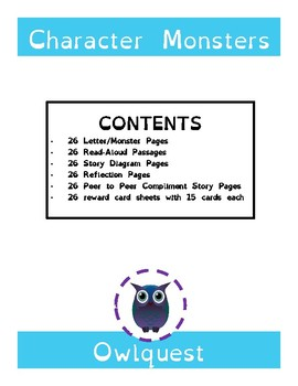 Character Monsters Fun Behavior Passages and Rewards