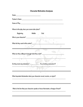 Character Motivation Analysis Worksheet