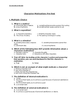 Character Motivation Pre-Test