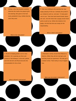 Character Motivation Task Cards
