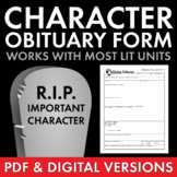 Character Obituary Writing Activity for Gr. 6-12, Characte
