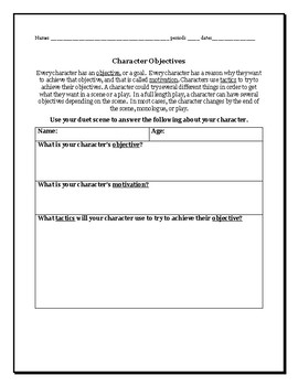 Character Objectives Worksheet