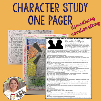 Character One Pager- Use with any story or novel! Secondary English