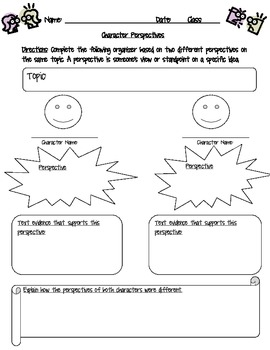 Character Perspectives in Literature Graphic Organizer and