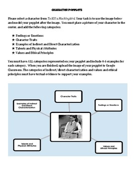"""Character Popplet """"To Kill a Mockingbird"""" (Use after chapter 11)"""