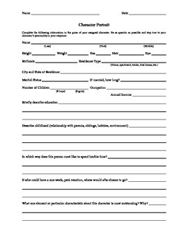 Character Portrait Worksheet